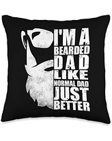 Father's Day Designs Dad-Gifts Dad Funny Unique Beard Mens Father-Day Gift-Idea Throw Pillow, 16x16, Multicolor