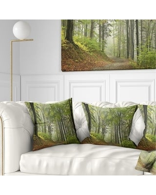 New Deal For Designart Green Beach Forest Pathway Landscape Photo Throw Pillow Square 18 In X 18 In Medium