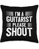 Guitar Accessories Funny Guitar Player Saying Guitarist I Please Shout Throw Pillow, 16x16, Multicolor