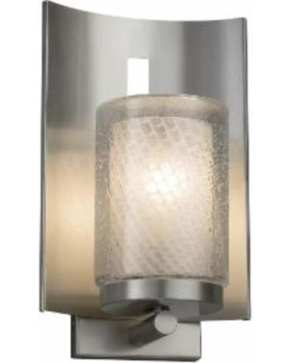 Justice Design Group Fusion 12 Inch Wall Sconce - FSN-7591W-10-WEVE-NCKL