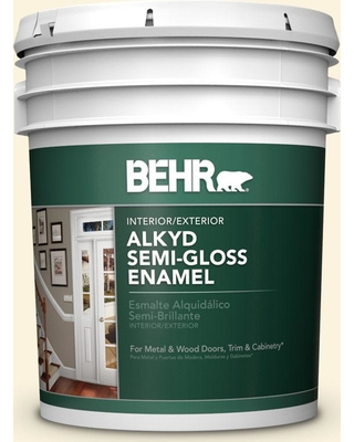 BEHR 5 gal. #P260-1 Glass of Milk Urethane Alkyd Semi-Gloss Enamel Interior/Exterior Paint