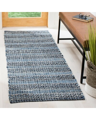 """Annia Striped Handwoven Blue/Black Area Rug Union Rustic Rug Size: Runner 2'3"""" x 7'"""
