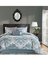 8 Pieces Bedding Sets Madison Park Roslynn King Size Bed Comforter Set Bed in A Bag Microcell Bedroom Comforters Striped Aqua