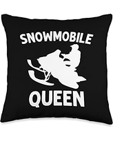 Best Snowmobiler & Winter Racing Skimobile Designs Funny Gift for Women Mama Snowmobiling Ice Sport Throw Pillow, 16x16, Multicolor