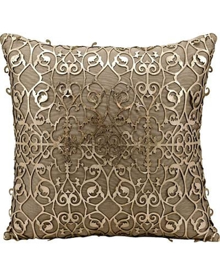 House of Hampton Fassbender Natural Leather Throw Pillow HOHN9754 Color: Brown/Gold