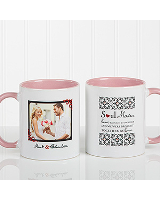 Personalized Soul Mate Photo Coffee Mugs - 11 oz. - Pink Handle