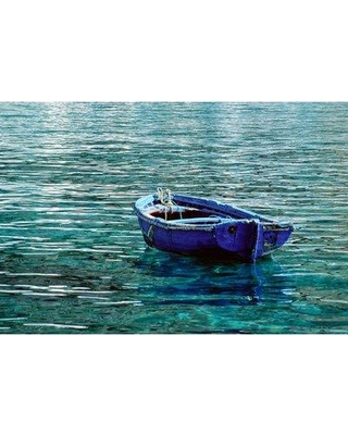 """Breakwater Bay 'Boat in Loutro Harbor' Acrylic Painting Print on Canvas BKWT4171 Size: 32"""" H x 48"""" W"""