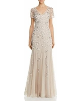Beaded Godet Gown - Natural - Adrianna Papell Dresses