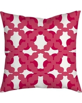 "SafiyaJamila Lattice Fence Geometric Throw Pillow LatticeFence_Red_ Size: 20"" H x 20"" W x 2"" D, Color: Pink"