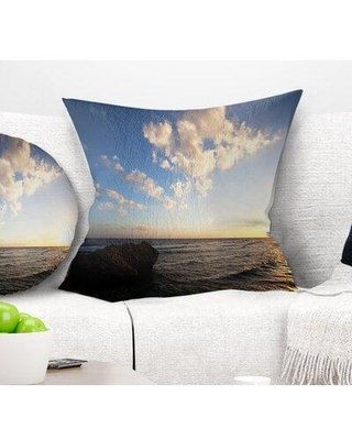 "East Urban Home Beach Evening Sea After Heavy Storm Pillow VOIN2306 Size: 16"" x 16"" Product Type: Throw Pillow"