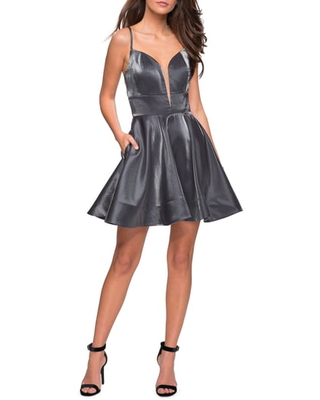 Women's La Femme Satin Fit & Flare Cocktail Dress, Size 4 - Grey