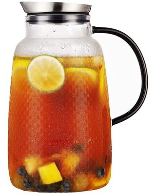 """80 Ounces """"Pineapple Series"""" Glass Pitcher With Stainless Steel Lid, Hot And Cold Water Carafe, Fruit Tea Coffee Maker, Ice Tea Pitcher, Juice Jar"""