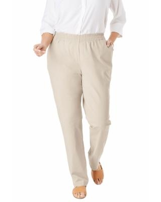 Plus Size Women's Elastic-Waist Straight Leg Chino Pant by Woman Within in Natural Khaki (26 Wide) | Spandex/Cotton