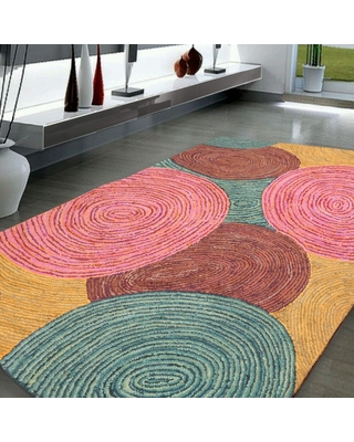 """5'4x7'6 Hand Tufted Cotton Circle Medley Multi Color Cotton Area Rug Oriental Area Rug Pink, Gold Color - 5'4"""" x 7'6"""""""