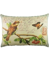 TheWatsonShop Bird and Butterfly Cotton Lumbar Pillow LUM_DFVBLUESTRICHERRYPC