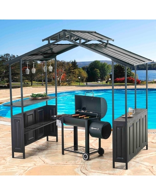 Deluxe Hard Top Grill Gazebo With Serving Bar