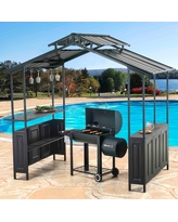Sunjoy 8 x 5 ft. Deluxe Hard Top Grill Gazebo with Serving Bar