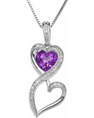 Love Is Forever Sterling Silver Amethyst and 1/10-ct. T.W. Diamond Double Heart Pendant, Women's, Purple