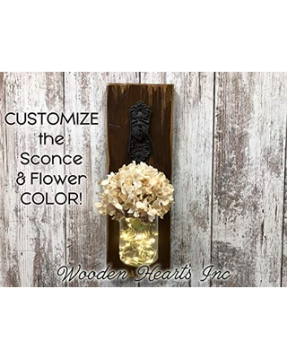 Wall SCONCE Lighted Jar with Flower *String Lights with Battery Operated with 6 Hour Timer in Glass JAR *Metal Antique Key Hook - Reclaimed Country Distressed Decor - Rustic Brown or White Wood