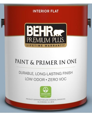 BEHR Premium Plus 1 gal. #S510-3 Ombre Blue Flat Low Odor Interior Paint and Primer in One