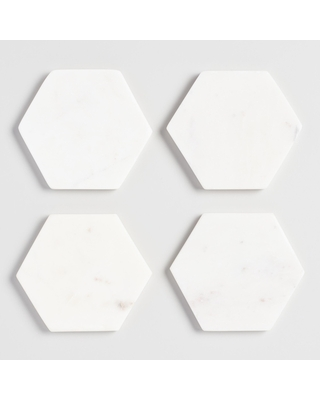 White Marble Hexagon Coasters 4 Pack by World Market