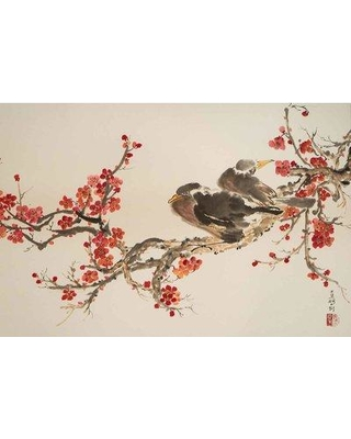 "Bloomsbury Market 'Ravens and Plum Blossoms' Acrylic Painting Print on Canvas BLMK3182 Size: 24"" H x 36"" W"