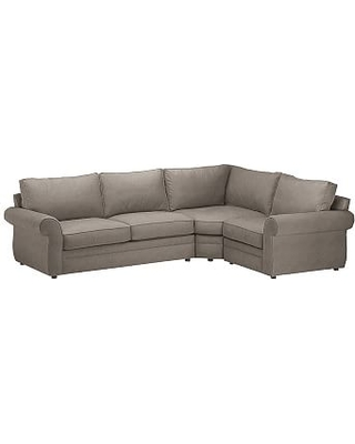 Pearce Roll Arm Upholstered Left Arm 3-Piece Wedge Sectional, Down Blend Wrapped Cushions, Performance Heathered Tweed Graphite