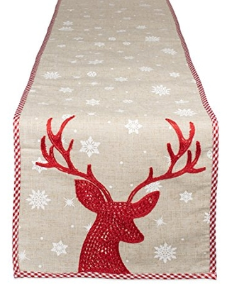 The Best Sales For Dii Holiday Decorative Table Runner Red Reindeer Embroidered 14x70
