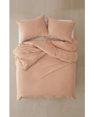 Washed Cotton Tassel Duvet Cover - Beige Full/queen at Urban Outfitters