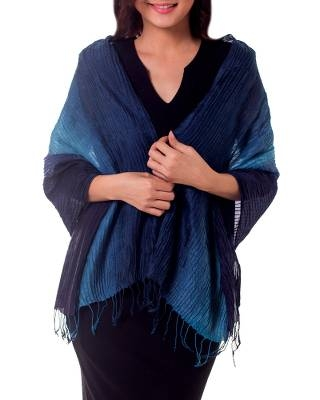 Ombre Pin Tuck Shawl from Thailand