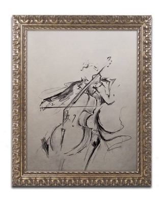 Trademark Fine Art 'The Cellist Sketch' Canvas Art by Marc Allante, Gold Ornate Frame