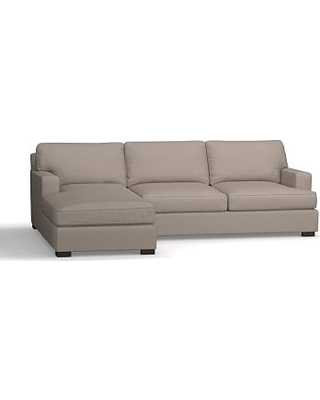 Townsend Square Arm Upholstered Right Chaise Sofa Sectional, Polyester Wrapped Cushions, Performance Everydayvelvet(TM) Carbon