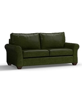 "PB Comfort Roll Arm Leather Sofa 83.5"", Polyester Wrapped Cushions, Leather Legacy Forest Green"