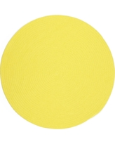 Joy Braids Solid Yellow 8 ft. x 8 ft. Round Indoor/Outdoor Braided Area Rug