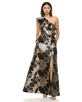 Adrianna Papell Women's Jacquard Ruffle Gown, Black/Gold Multi, 4