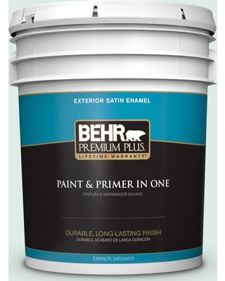 BEHR Premium Plus 5 gal. #480E-1 Country Mist Satin Enamel Exterior Paint and Primer in One