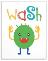 The Kids Room by Stupell Wash Monster Cartoon Typography Oversized Wall Plaque Art, 12.5 x 0.5 x 18.5