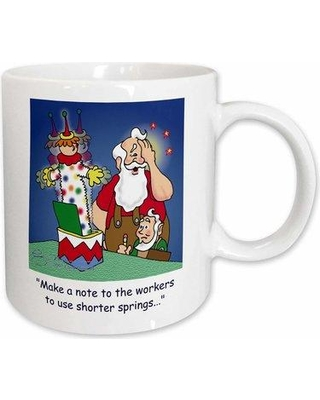 East Urban Home Larry Miller Cartoon About Santa Working on Toys for Christmas Coffee Mug W000292257