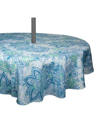DII Blue Watercolor Paisley Print Outdoor Tablecloth With Zipper 60 Round