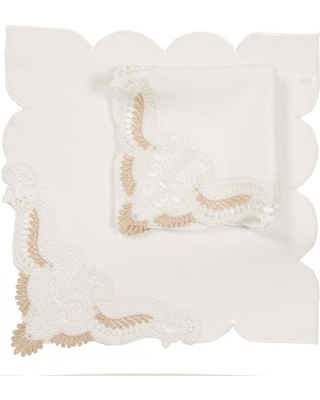 Xia Home Fashions 0.1 in. H x 20 in. W x 20 in. D Anais Elegant Lace Embroidered Cutwork Napkins (Set of 4), White