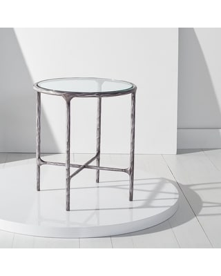 """SAFAVIEH Couture Jessa Forged Metal Round End Table - 18"""" W x 18"""" L x 20"""" H (Silver)"""