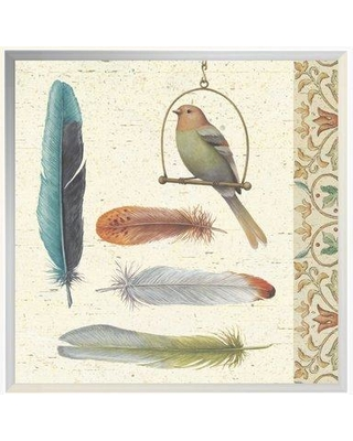 "East Urban Home 'Feather Tales II' Print EUHE3865 Size: 13.6"" H x 13.6"" W Format: Framed"