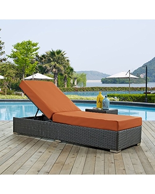 Modway Sojourn Wicker Rattan Outdoor Patio Sunbrella Fabric Chaise Lounge in Canvas Tuscan