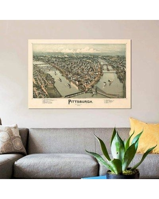 "East Urban Home 'Pittsburgh Bird's Eye View 1902' Graphic Art Print on Canvas EBHS8104 Size: 8"" H x 12"" W x 0.75"" D"