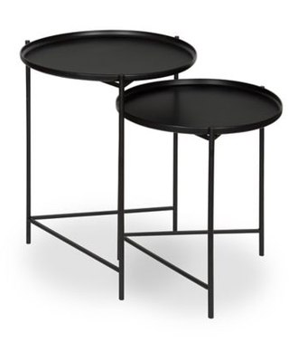 Kate And Laurel Ulani Nested Round End Tables In Black (Set Of 2)