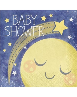 """The Party Aisle™ Moon Baby Shower 6.5"""" Tissue Disposable Napkins, Paper in Yellow/Blue, Size 6""""H X 6""""W X 1""""D 