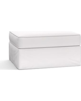 Pearce Slipcovered Storage Ottoman, Polyester Wrapped Cushions, Twill White