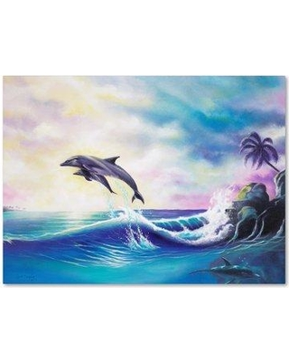 "Winston Porter 'Dolphins' Graphic Art Print on Wrapped Canvas WNST5496 Size: 14"" H x 19"" W"