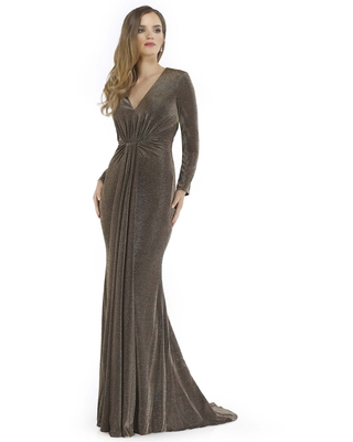 Morrell Maxie - 16155 Gathered V-Neck Long Sleeves Gown