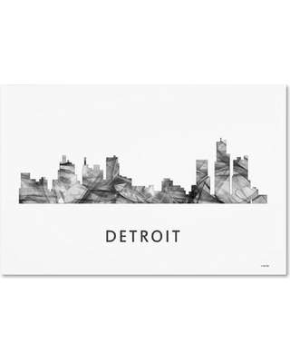 "Trademark Fine Art 'Detroit Michigan Skyline WB-BW' Graphic Art on Wrapped Canvas MW0434-C Size: 30"" H x 47"" W x 2"" D"